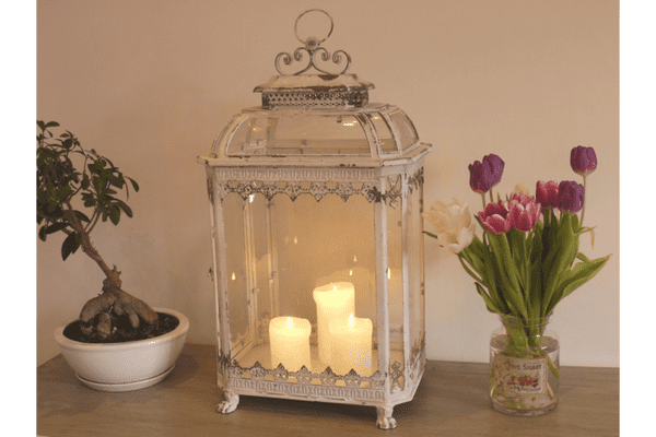 Large Shabby Chic Distressed Glass Candle Lantern White